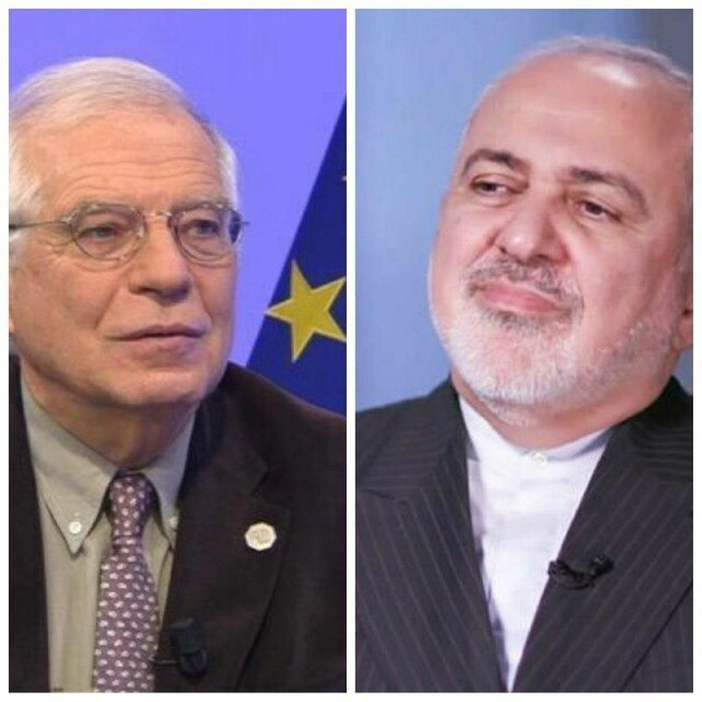 رایزنی ظریف و مسئول سیاست خارجی اتحادیه اروپا در مورد لزوم لغو تحریم های آمریکا علیه ایران