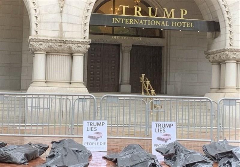 تجمع آمریکاییها مقابل هتل ترامپ در اعتراض به نحوه مدیریت بحران کرونا