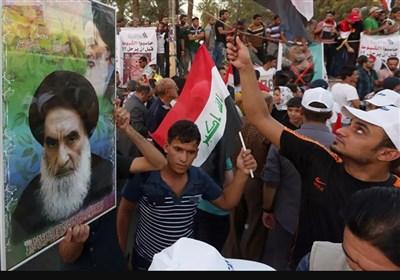 تظاهرات مردم خشمگین عراق در محکومیت توهین رسانه سعودی به آیتالله سیستانی