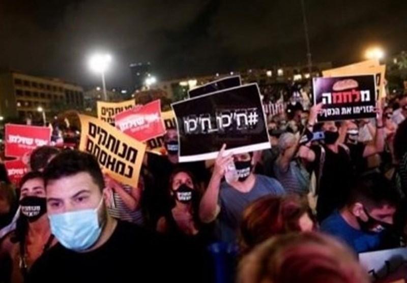 تظاهرات هزاران صهیونیست خشمگین درخیابان های تل آویو