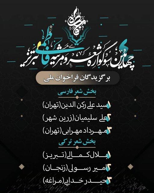 برگزیدگان چهارمین سوگواره شعر و مرثیه فاطمی تبریز معرفی شدند
