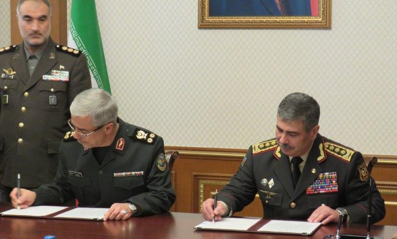 پروتکل همکاری نظامی بین ایران و جمهوری آذربایجان امضا شد