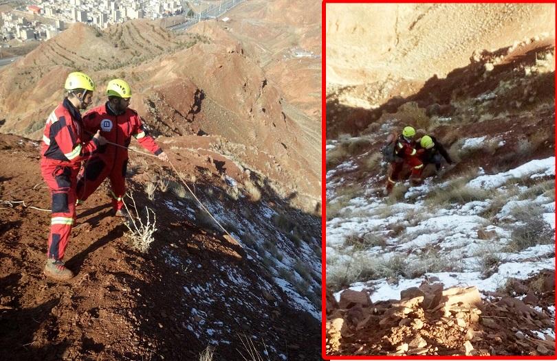 نجات 2 شهروند تبریزی گرفتار در دره کوه عون بن علی توسط آتشنشانان