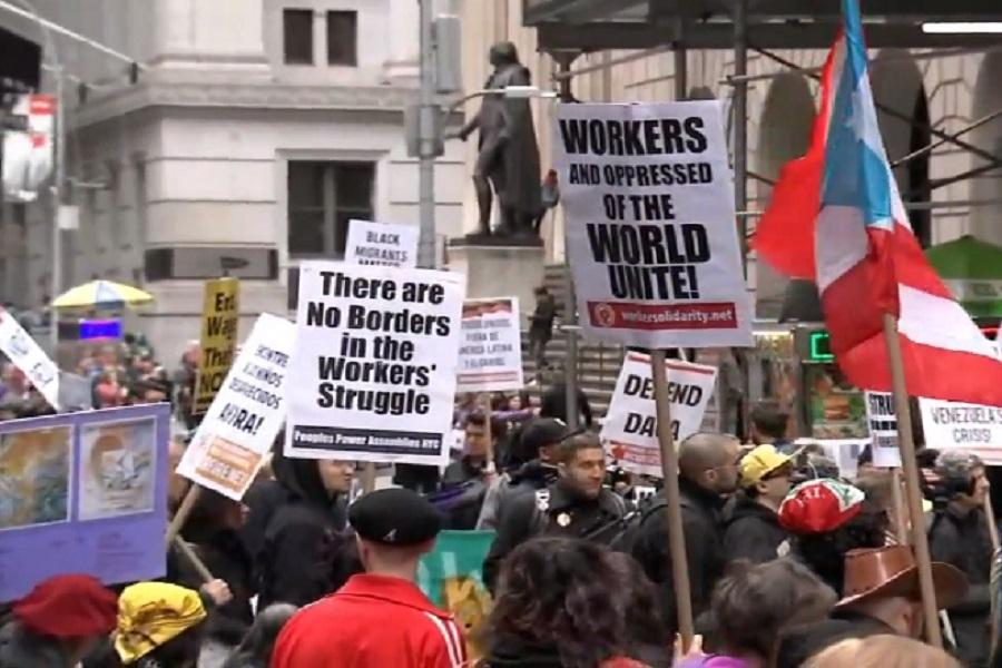 کارگران آمریکایی به جنگ افروزی دولت ترامپ اعتراض کردند
