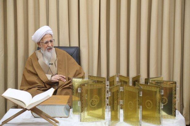 با حضور آیت الله جوادی آملی؛ ۳ قرآن نفیس کتابت شده توسط هنرمند ایرانی رونمایی شد