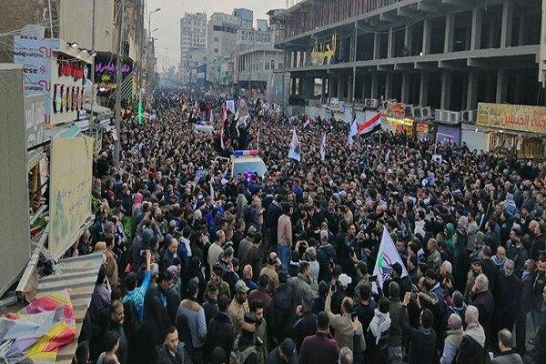 مراسم تشییع پیکرهای شهیدان سلیمانی و المهندس در «کاظمین»