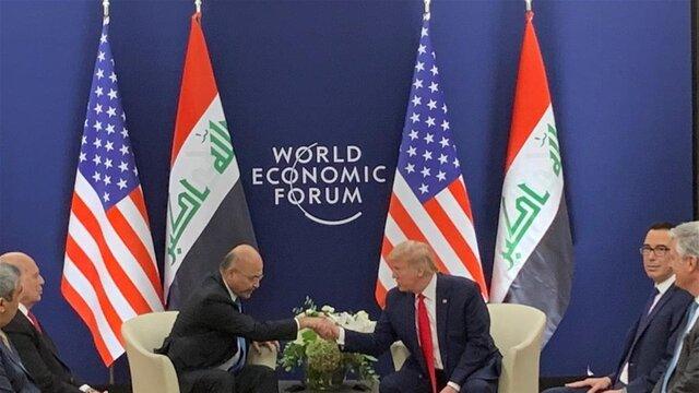 در حاشیه اجلاس داووس؛ دیدار برهم صالح با ترامپ و تاکید بر ادامه همکاری نظامی