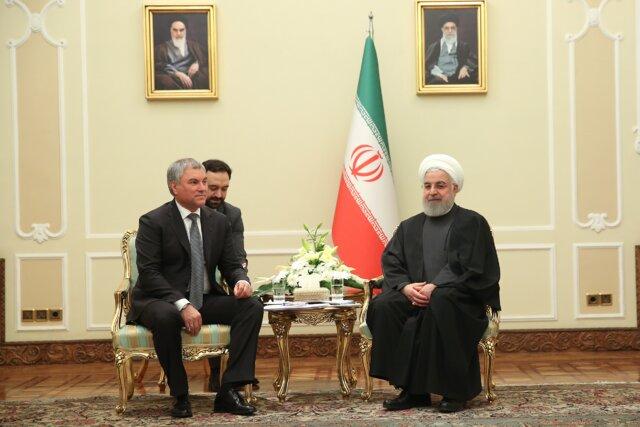 در دیدار با رئیس دومای روسیه؛ روحانی: علاقهمند گسترش تنش در منطقه نیستیم